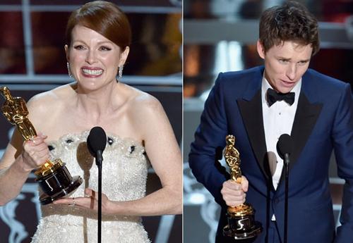 Getty Images - Julianne Moore e Eddie Redmaye, vencedores dos prêmio de Melhor Atriz e Melhor Ator