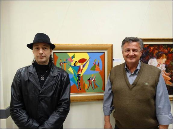 O curador Carlos Zemek e o artista pl�stico Osmar Carboni.