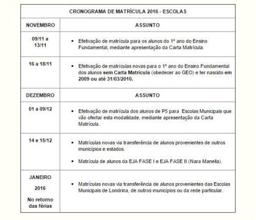 Londrina abre matr culas para 1 ano do fundamental for Cronograma jardin infantil 2015