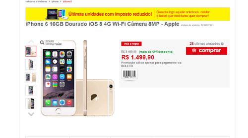 4316078f3 Site falso da Americanas oferece iPhone 6 com mais de 60% de ...