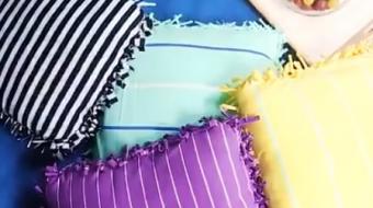 Almofadas feitas com camisetas s�o alternativa f�cil e barata para decorar
