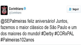 Corinthians parabeniza Palmeiras por anivers�rio e gera pol�mica nas redes