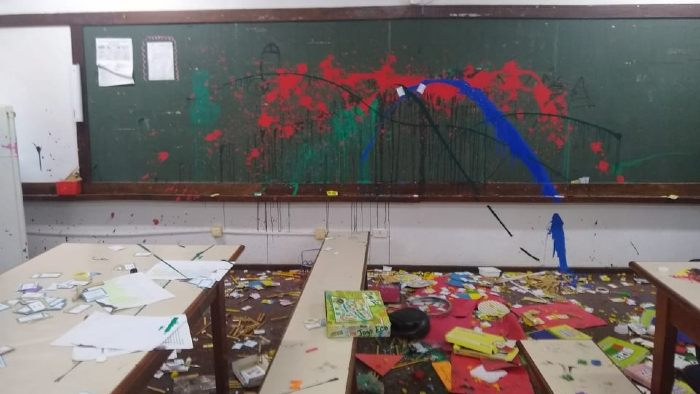 Divulgação/Prefeitura de <a href='/tags/rolandia/' rel='noreferrer' target='_blank'>Rolândia</a> - A Escola Municipal São Fernando, em <a href='/tags/rolandia/' rel='noreferrer' target='_blank'>Rolândia</a>, foi encontrada com danos após vandalismo
